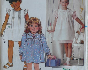 Girl's Dress Pattern, Cabbage Patch - Vintage Butterick 6595 - Size 6