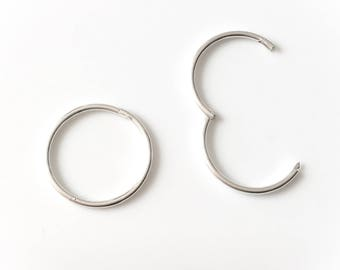 Sterling Silver 925 Sleeper Hoop Earrings Hinged Pair 10mm 13mm 16mm UK MADE