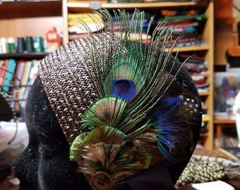 Bridal headpiece made of raffia