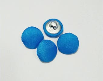 Set of 4 blue buttons, metal and fabric 15 mm