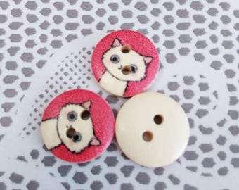 Set of 3 cats and Red wooden buttons