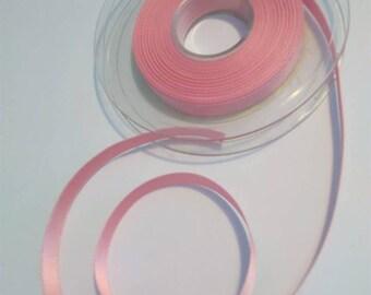 Pink Ribbon plain pale satin 10mm wide