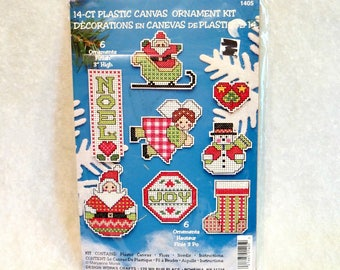 Counted Cross Stitch Plastic Ornaments Kit | Design Works Crafts | Noel Santa Angel Snowman Joy Stocking | Multi-Lingual Instructions