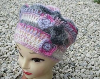 angora pink, white and gray crochet Beanie, celebrating grandmothers