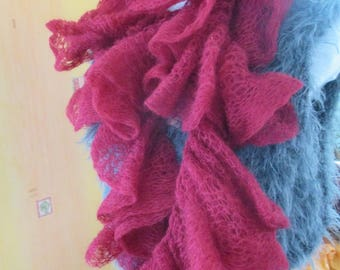 Burgundy Red mohair wool scarf, gift