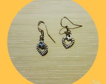 small heart-shaped metal earring