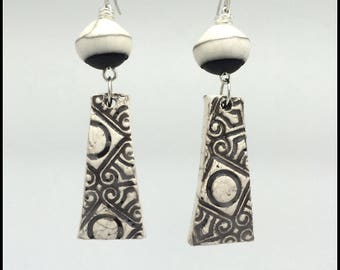 Earrings handmade style ethnic ivory