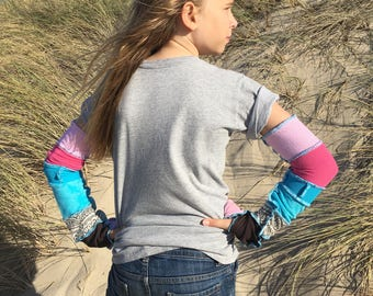 """Bohemian Katwise inspired extra long arm warmers/fingerless gloves """"bubble gum"""""""