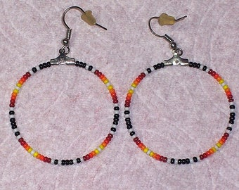 Native American Southwestern Colored Beaded Hoop Earrings