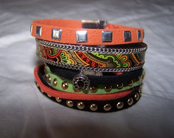 Cuff Bracelet in shades of orange, black and green suede and leather