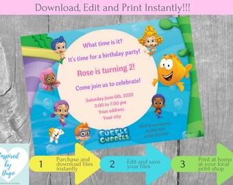 Girl Bubble Guppies Birthday Party Invitation - Bubble Guppies Invitation - Bubble Guppies Party - INSTANT DOWNLOAD - Editable Invitation