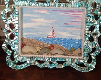 Nautical mixed media painting