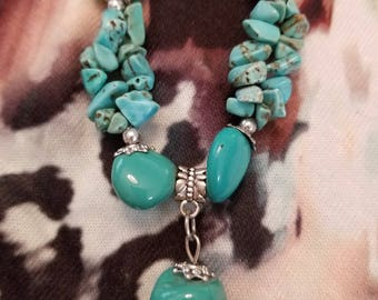 Genuine Turquoise with Silver,  Fashion Necklace, One of a Kind with Pendant. NEW  Handmade Necklace Jewelry. For Any Occasion. Southwestern