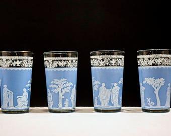 Set of 4 Jeannette Hellenic Blue Wedgwood Greek Style Glass Tumblers ~Roman~Greek~Vintage~Blue and white~Scene~Classic~Water~Juice~tumbler