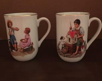 2 Vintage NORMAN ROCKWELL MUSEUM Cups/ Mugs