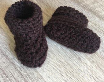 Chocolate Brown Baby Booties