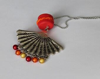 Orange red fan necklace