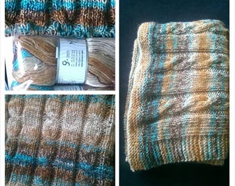 blanket/plaid acrylic angora and lurex hand knitted cable