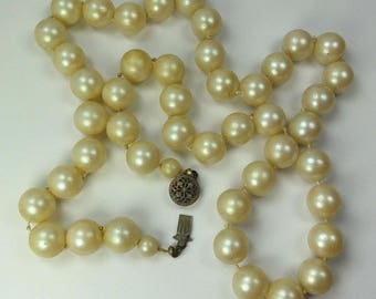 "Vintage Necklace Faux Pearls on Knotted String length 21"" Clasp Signed Sterling ET6364"