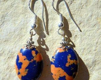 Blue lapis coral aggregate stone 925 Silver EARRINGS