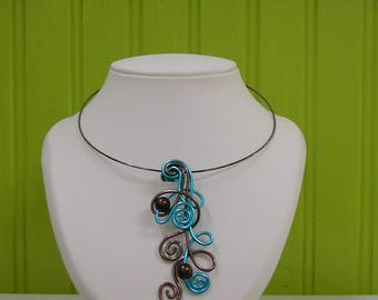 turquoise and chocolate aluminum pendant necklace