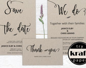 Wedding Invitation Template, Save the Date Template, Save the Date,Thank You Card Template, Wedding Thank You, PDF Instant Download, WS009