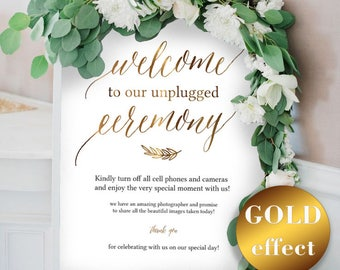 Unplugged Wedding, Gold Unplugged Wedding Sign, Unplugged Ceremony Sign, Unplugged Sign, Wedding Unplugged, Instant Download, #HQT011_6g
