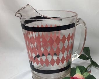 Pink Diamonds Mid Century Pitcher