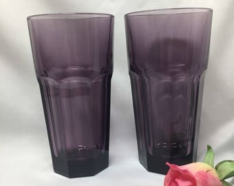 Libbey Duratuff Purple Gibraltar Iced Tea Tumblers  - set of 2
