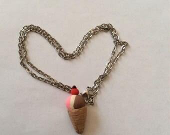 Ice cream cone necklace, chain necklace