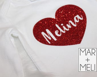 Valentine's Day Heart with Name Bodysuit