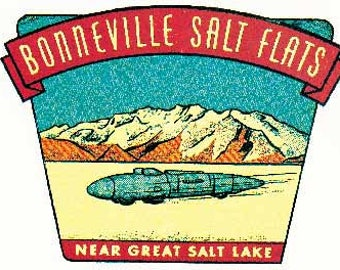 Vintage Style Bonneville Salt Flats Utah Travel Decal sticker