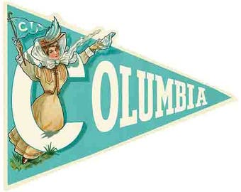Vintage Style Columbia University College  1940's   Travel Decal sticker