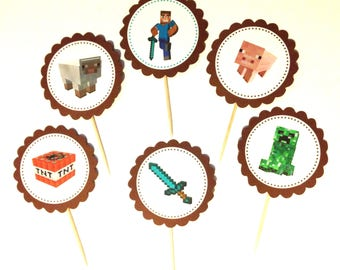 Minecraft Cupcake Toppers - 12 - Minecraft Party Decorations - Minecraft Birthday Party - Minecraft Cupcakes - Boy Birthday Party