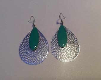 Earrings Turquoise Blue Print