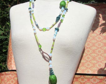 Turquoise/Apple necklace and purple blue collection