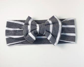 Gray & white stripe Bow Headband