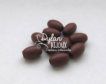 10 oval wooden beads / olive brown 10 x 16 mm