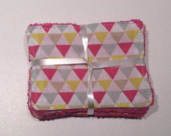 "Washcloths to take care of yourself in softness while respecting the planet ""Triangles"""