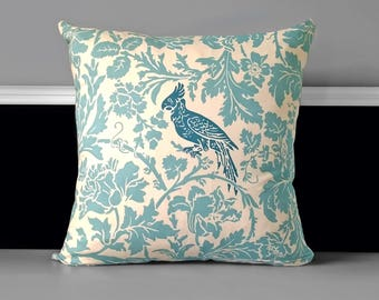 Pillow white and blue 40 x 40 cm with birds ornaments patterns