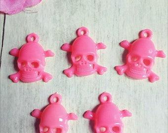 Set of 5 neon pink skulls acrylic charms