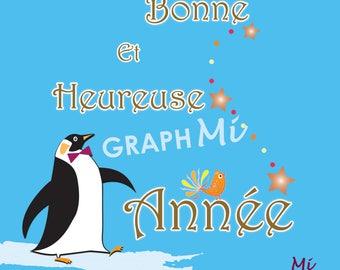 "Happy new year ""Penguin"" card"