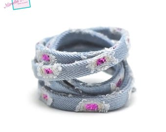 "1 m cord/thong jean ""vintage sequin"" 10 x 2 mm blue clear/fuchsia"
