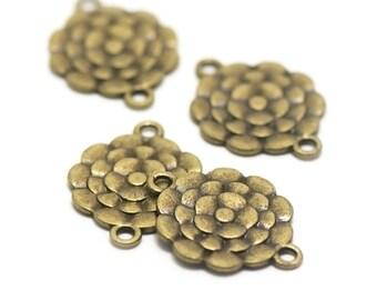 """10 connectors """"flower"""", 27 x 20 mm, bronze"""