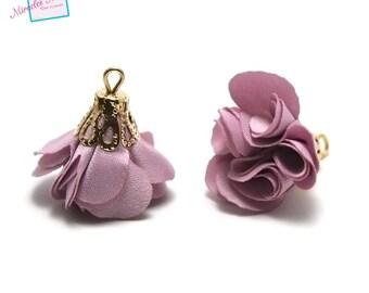 """2 beautiful 22 x 22 mm, pink collar: 3 """"pink"""" fabric tassels"""