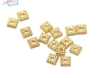 """beads 50 """"square plate"""" 5 x 5 x 1, 5mm, Golden 001"""
