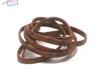 """1 m of imitation """"overlay"""" Brown 5 mm flat leather cord"""
