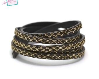 "1.15 m Strip split leather double fantasy ""spangle yarn"" 5 mm, black/gold"