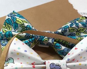 Blue Ditsy Print Bow Tie