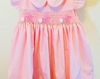 Pink Bunny Easter Smocked Dress, Easter Smocked Dress, Girls Smocked Dress